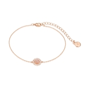 Dirty Ruby Rose Gold Pink Moonstone Halo Bracelet