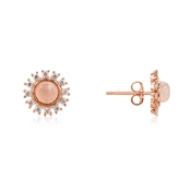 Dirty Ruby Rose Gold Pink Moonstone Halo Earrings