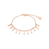 Dirty Ruby Rose Gold Plain Lines Drop Bracelet