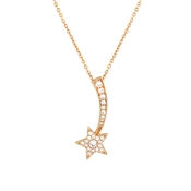 Dirty Ruby Rose Gold Shooting Crystal Star Necklace