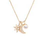 Dirty Ruby Rose Gold Star Moon Crystal Charm Necklace