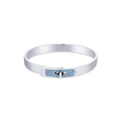 Dirty Ruby Silver Blue Crystal Clasp Bangle