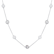 August Woods Silver Clear Crystal Alternate Long Necklace