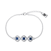 August Woods Silver Clear Crystal Blue Glass Bracelet