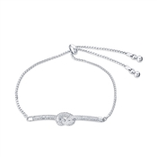August Woods Silver Clear Crystal Knot Pull Bracelet
