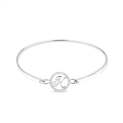 August Woods Silver Crystal K Initial Bangle