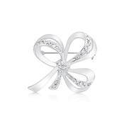 August Woods Silver Crystal Open Ribbon Brooch