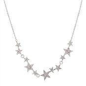 August Woods Silver Crystal Star Row Necklace
