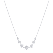 Dirty Ruby Silver Crystal Stars Necklace
