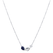 August Woods Silver Lapis Night Mix Necklace