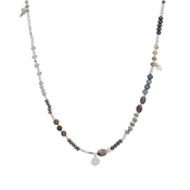 August Woods Silver Long Grey Beaded Necklace