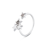 Dirty Ruby Silver Open Crystal Stars End Ring