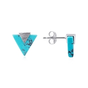 Dirty Ruby Silver Turquoise Triangle Stud Earring