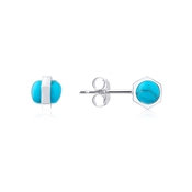 Dirty Ruby Silver Turquoise Ball Earring