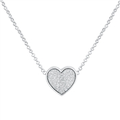 August Woods Silver Crystal Heart Necklace