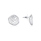 August Woods Silver White Mesh Stud Earring