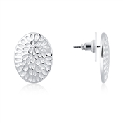 August Woods Silver White Oval Stud Earring