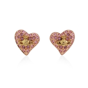 Vivienne Westwood Tiny Crystal Gold Heart Earrings