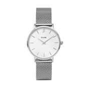 CLUSE Minuit Heart Silver Mesh Watch and Bracelet Gift Box