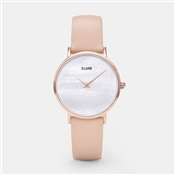 CLUSE Minuit La Perle Rose Gold Nude Leather Watch