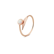 Karma Rose Gold Pink Opal Leaf Adjustable Ring