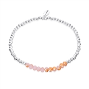 Silver + Pink Stretch Bracelet  by Karma