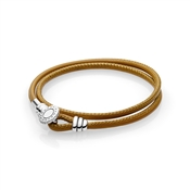 PANDORA Moments Golden Tan Double Leather Bracelet