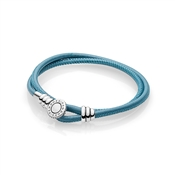 PANDORA Moments Turquoise Double Leather Bracelet