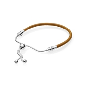 Pandora Moments Sliding Golden Tan Leather Bracelet