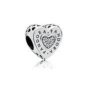 PANDORA Signature Heart Charm, Clear CZ