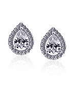 Carat* London Classic Pear Halo Stud Earrings