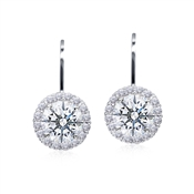 Carat* London Round Halo Drop Earrings