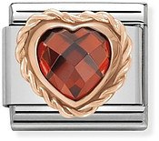 Nomination Rose Gold Red Heart Charm