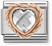 Nomination Rose Gold White Heart Charm