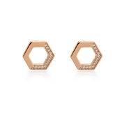 Argento Rose Gold Open Honeycomb Stud