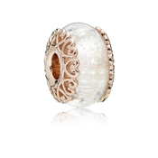 PANDORA Rose Iridescent White Glass Murano Charm