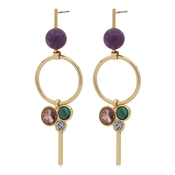 Pilgrim Gold Purple Drop Earrings