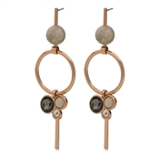 Pilgrim Gold Grey Drop Earrings