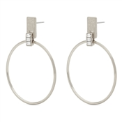 Pilgrim Silver Drop Hoop Crystal Earrings