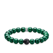 Thomas Sabo Green Malachite Beaded Bracelet