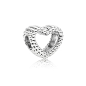Silver Beaded Heart Charm by Pandora