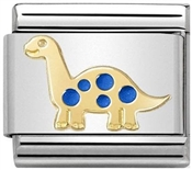 Nomination Gold & Blue Dinosaur Charm