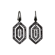 Karl Lagerfeld Black Deco Concentric Earrings
