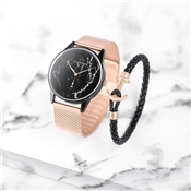 Paul Hewitt Black Marble + Rose Gold Mesh Watch Gift Set
