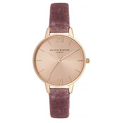 Olivia Burton Demi Rose Velvet & Rose Gold Watch