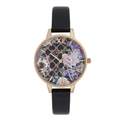 Olivia Burton Glasshouse Black & Rose Gold Watch