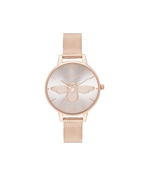 Olivia Burton Blush & Rose Gold 3D Bee Mesh Watch