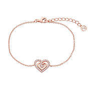 Argento Rose Gold Crystal Heart Bracelet