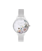 Olivia Burton Enchanted Garden Silver Mesh Watch