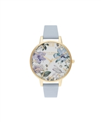 Olivia Burton Bejewelled Floral Chalk Blue + Gold Watch